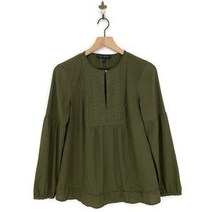 Banana Republic Green Embroidered Crepe Blouse XS